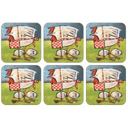 Chicken design Mother Hen drinks coaster set