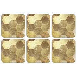 Golden Repeat drinks coasters gold block design