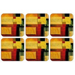 Radiance drinks coaster set with colourful yellow green and red blocks