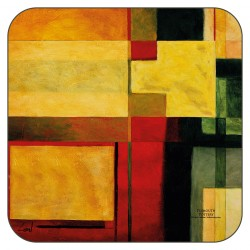 Radiance drinks coasters with yellow green and red coloured blocks