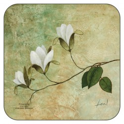 Ivory Blossom floral drinks coasters