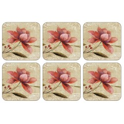 Retro effect Antique Bloom drinks coaster set of 6