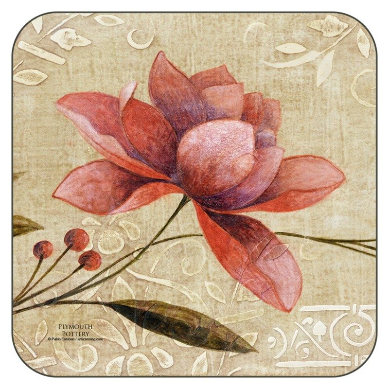 Retro effect Antique Bloom drinks coasters by Plymouth Pottery