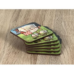 Mother Hen drinks coasters stacked on wooden table