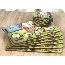Mother Hen drinks coasters with placemats fanned out