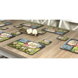 Mother Hen drinks coasters on wooden table