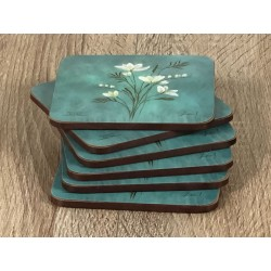 Infinity corkbacked floral coasters stacked up