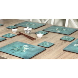 Infinity corkbacked floral coasters wooden table with chopsticks