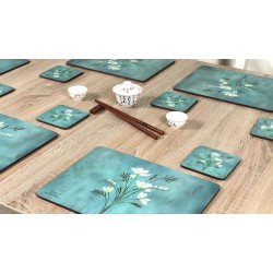 Infinity corkbacked floral placemats set on table with chopsticks