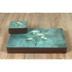 Neatly stacked Infinity, teal blue background, corkbacked floral placemats and matching coasters