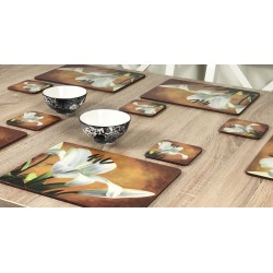 Lily Sunburst orange background, corkbacked floral placemats on wooden table with bowls