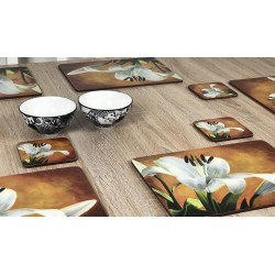 Wooden table with bowls Lily Sunburst orange background, corkbacked floral placemats