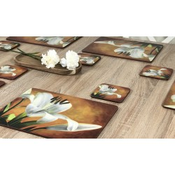Placemats Lily Sunburst orange background, corkbacked floral design with white flowers