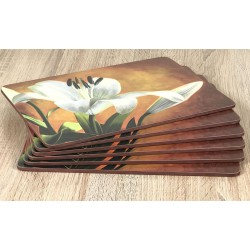 Placemats Lily Sunburst orange background, corkbacked floral design fanned out all six