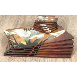 Lily Sunburst design cork backed floral coasters with placemats stacked