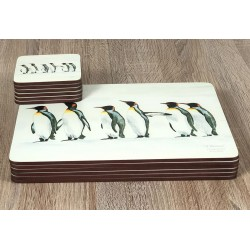 Penguin Parade animal themed corkbacked coasters and tablemats neatly stacked