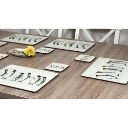 Wooden table with yellow flower Penguin Parade animal themed corkbacked tablemats