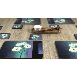 Plymouth Pottery Timeless white flowers set of 6 tablemats on wooden table with chopsticks