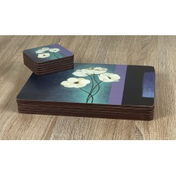 Plymouth Pottery Timeless white flowers set of 6 tablemats with stacked coasters
