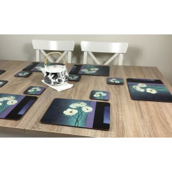 Plymouth Pottery Timeless white flowers set of 6 tablemats on wooden table with teapot