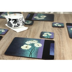 Wooden table with teapot and Plymouth Pottery Timeless white flowers set of 6 tablemats