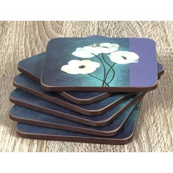 Fanned out display of Timeless drinks coasters by Plymouth Pottery