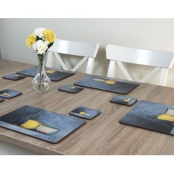 Vase of yellow flowers and Blue Harmony corkbacked drinks coasters