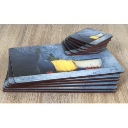 Blue Harmony fruit based set of 6 tablemats with coasters stacked on top